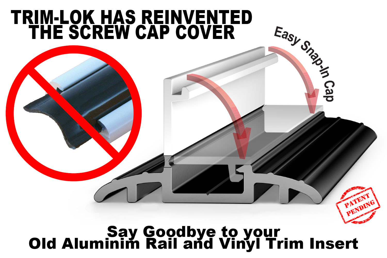 Trim-Lok New Hinged Screw Cap Cover Replace Aluminum Rail and Vinyl Insert