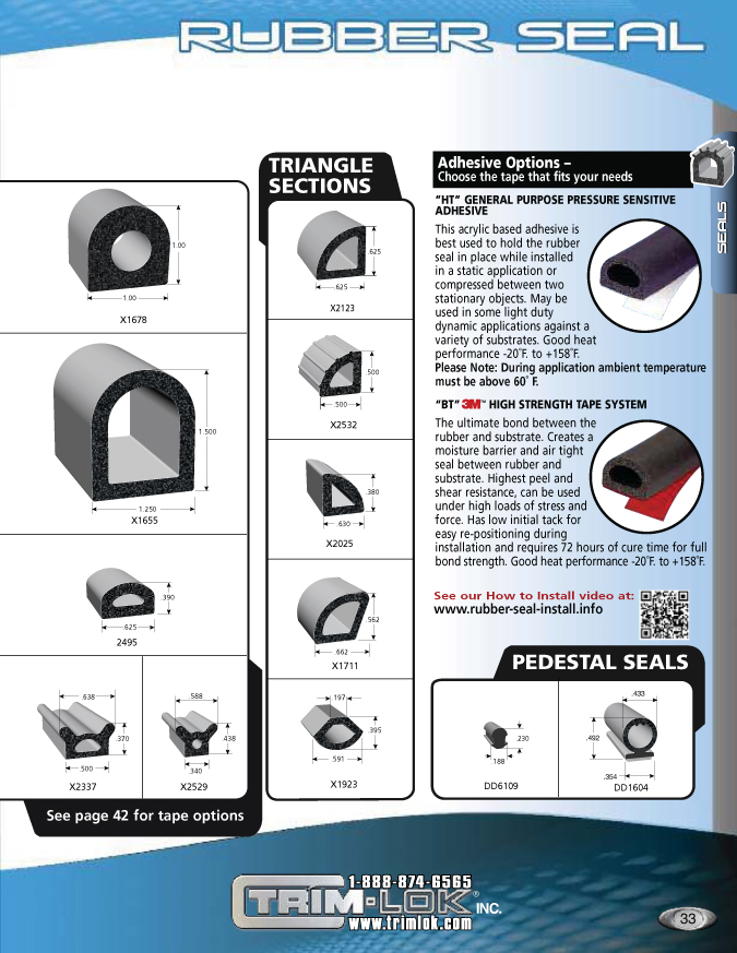 Trim-Lok self-adhesive rubber seals catalog page 33
