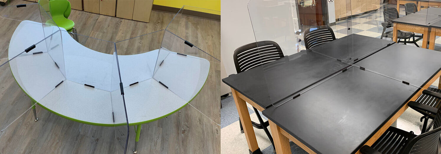 Student desk dividers use edge trim to help prevent the spread of COVID-19