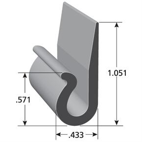 I11023 automotive upholstery j-clip with measurements