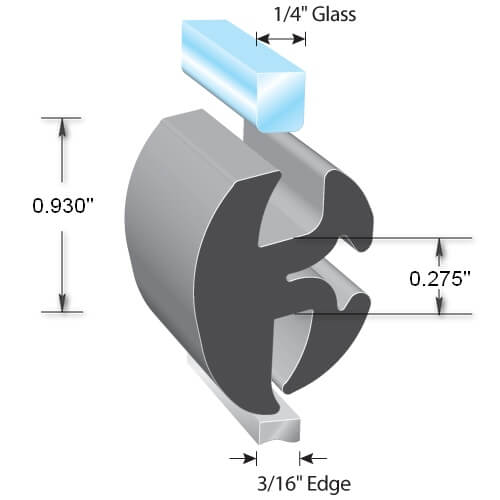 """Fits Glass 3//16/"""" TRIM LOK INC LK1522-100 Single Piece Window Locking Gasket"""