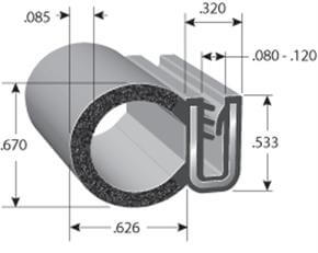 DD6100 co-extruded rubber trim seal dimensions