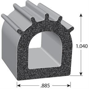 D-shaped weather-stripping rubber seal with dimensions