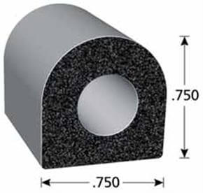 D-shaped rubber seal with dimensions