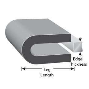 Rubber protective edging with edge thickness and leg length illustration